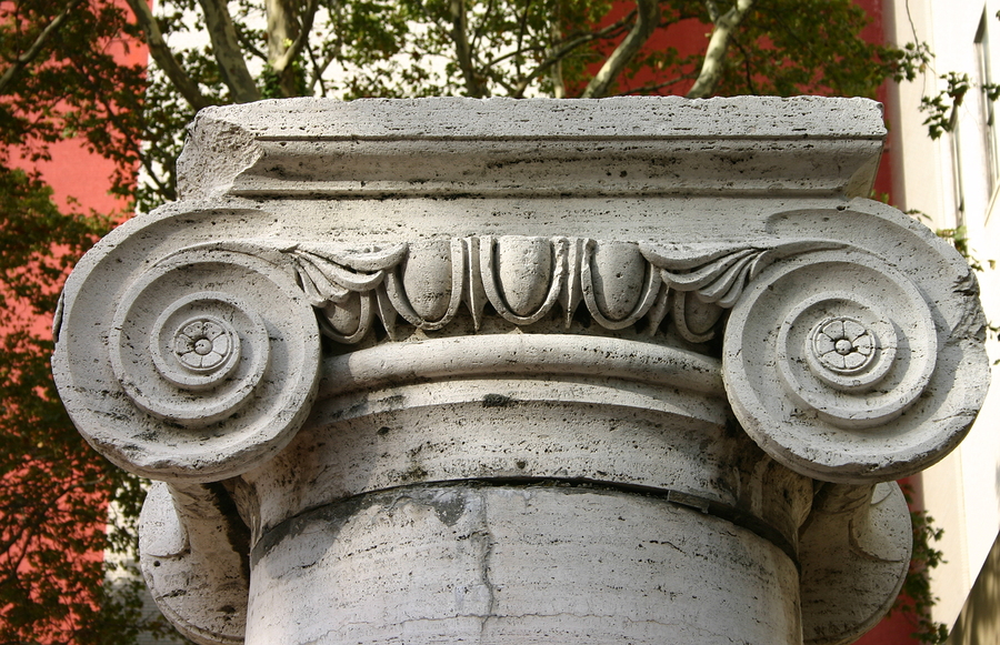 Detail Of Stone Ionic Capital And Column Base